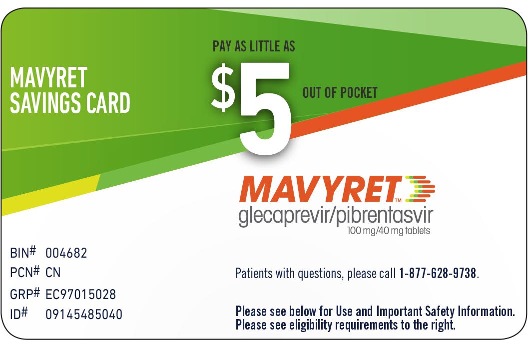 MAVYRET (glecaprevir/pibrentasvir) Co-pay Card Download