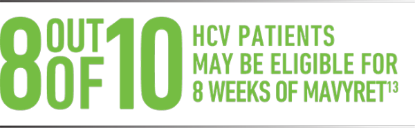 8 out of 10 HCV patients may be eligible for 8 weeks of MAVYRET